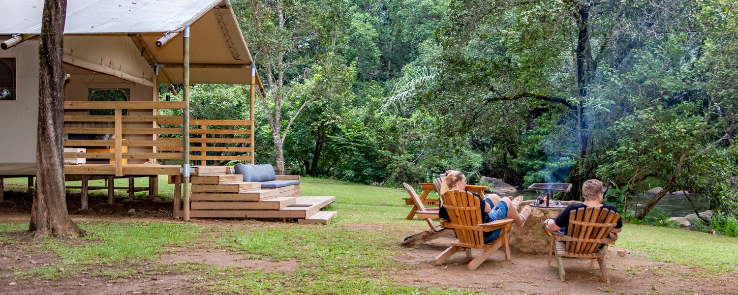 Glamping on the banks of the Sabie River at Mackers, Hazyview